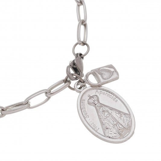 Pulseira Cadeia da consagração com medalha de Nossa Senhora Aparecida inox