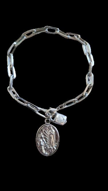 Pulseira Cadeia da consagração com medalha de Nossa Senhora de Fátima INOX