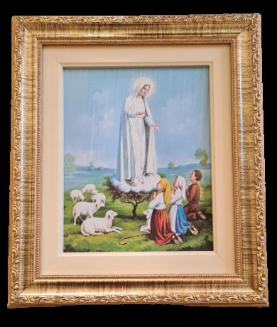 Quadro Nossa Senhora de Fátima com moldura dourada