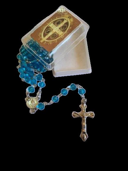 Terço de São Bento de Cristal (Azul Claro)