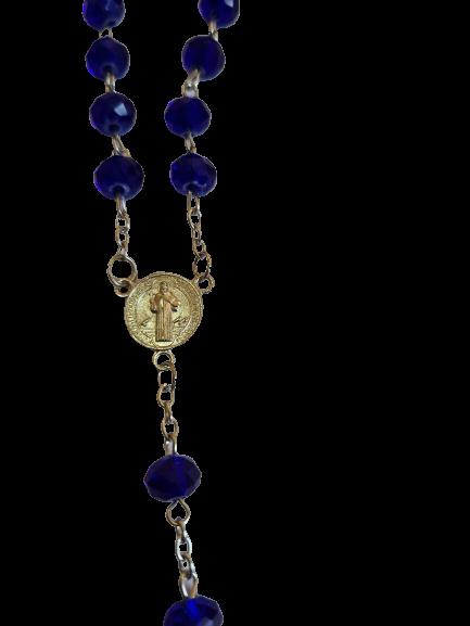 Terço de São Bento de Cristal (Azul Escuro)