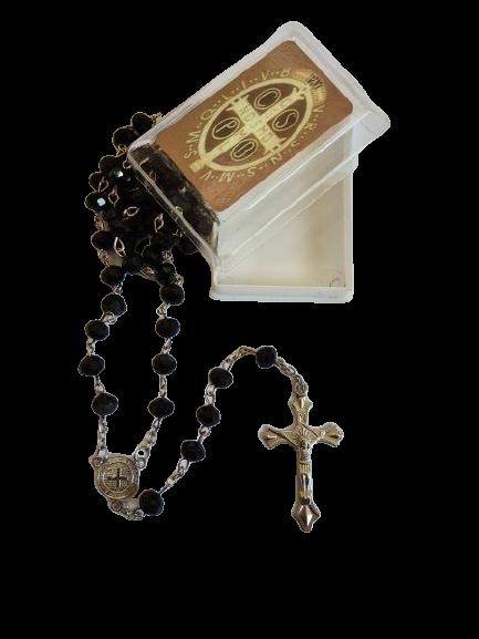 Terço de São Bento de Cristal (Preto)