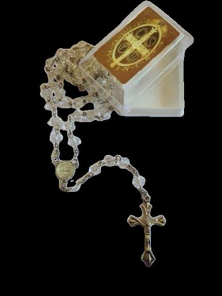 Terço de São Bento de Cristal (Transparente)