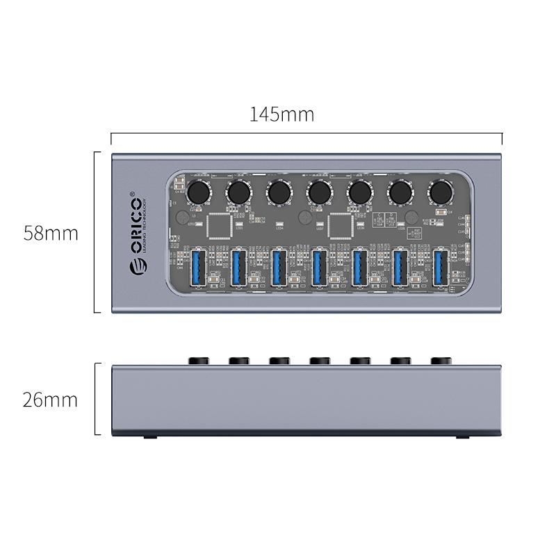 Hub 7 Portas USB3.0 com Switches Individuais AT2U3-7AB