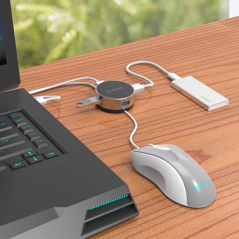 Hub de Alumínio - 3 portas USB 3.0 Com Gerenciador de Cabos - BNS1