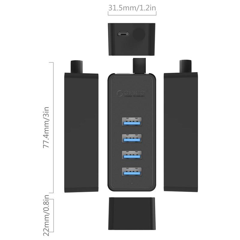 Hub USB 3.0 - 4 Portas com cabo de 1m - W5P-U3-100