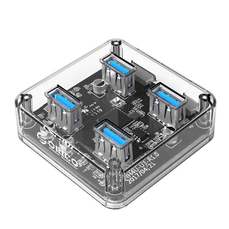 Hub USB 3.0 - 4 Portas - Transparente - MH4U-U3