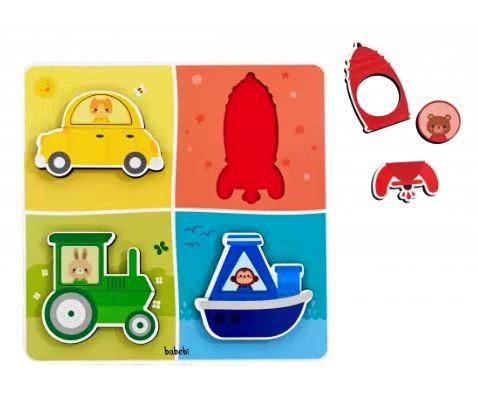 Quebra-Cabeça de Encaixe: transporte, cores e formas