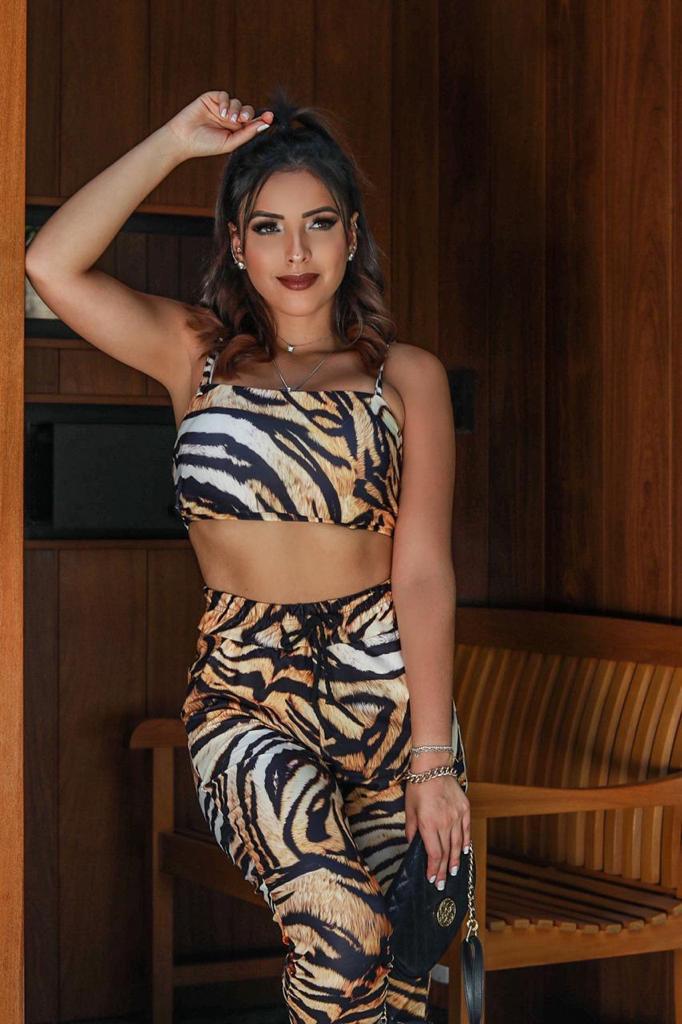 Conjunto calça e cropped Tigre