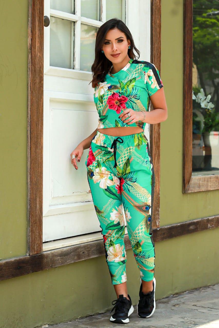Conjunto de Calça verde florido Courinho