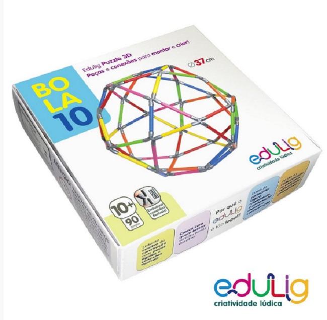 BOLA 10 QUEBRA CABEÇA PUZZLE 3D - 90 PEÇAS E CONEXÕES