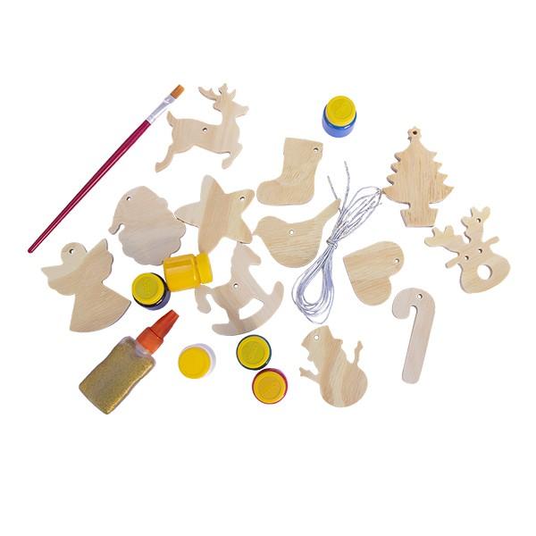 Kit de Enfeites de Natal em Madeira para Colorir e Decorar a Arvore