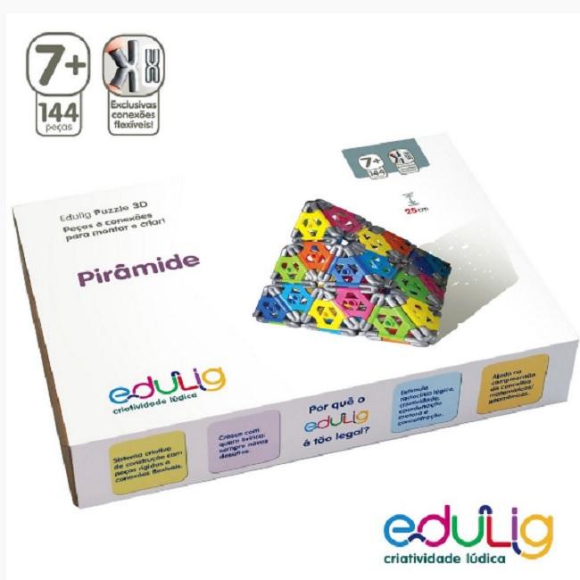 QUEBRA CABEÇA PIRÂMIDE PUZZLE 3D - 144 PEÇAS E CONEXÕES - 6 CORES