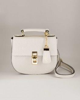 Bolsa Couro Feminina Pequena Com Alça Regular Preta e Branca