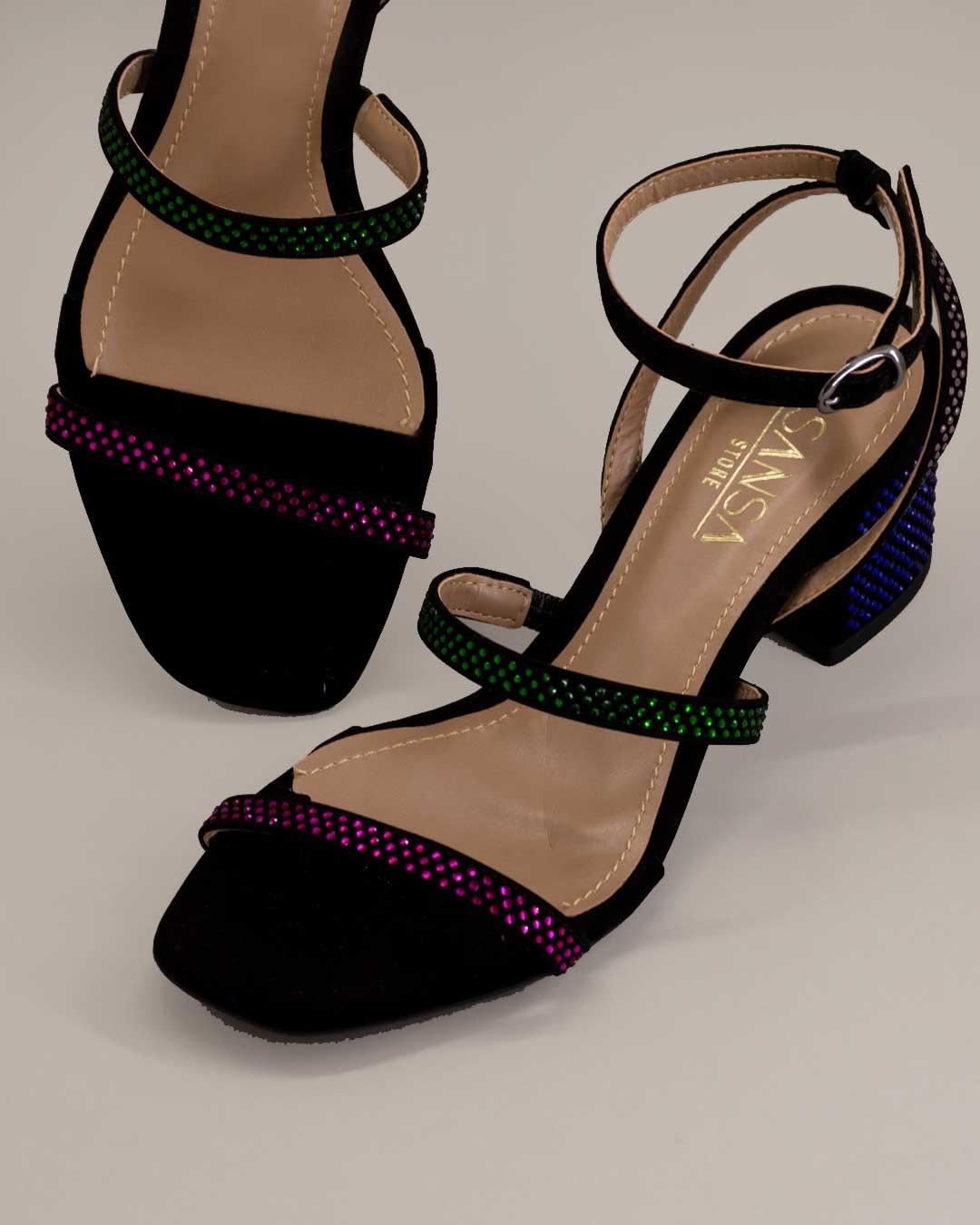 Sandália Salto Baixo e Grosso Colorida