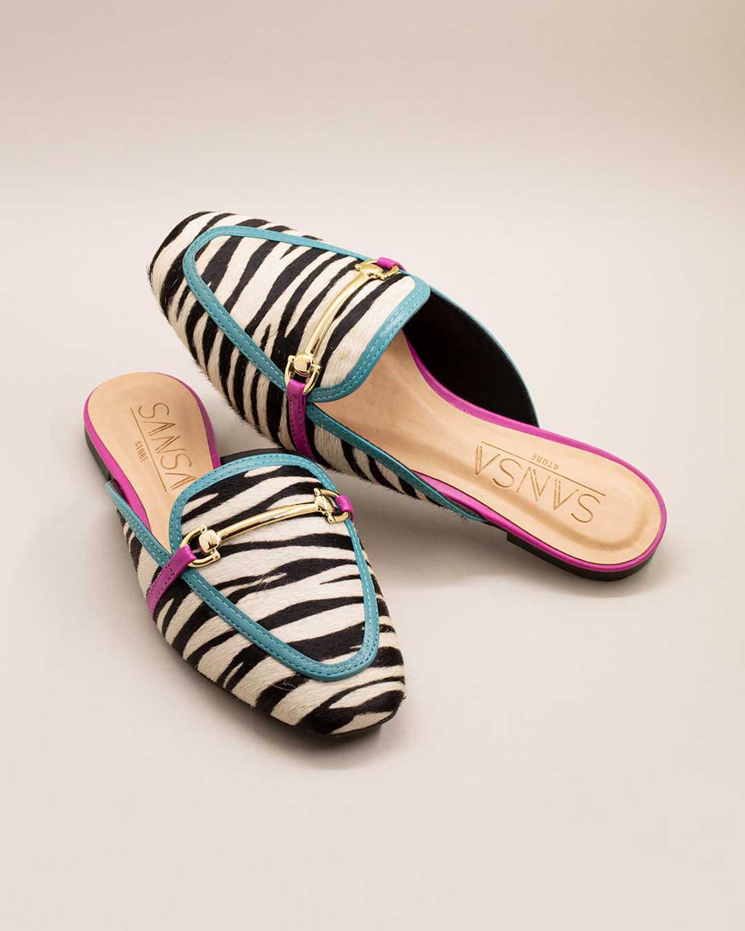 Mule Feminino Animal Print Zebra