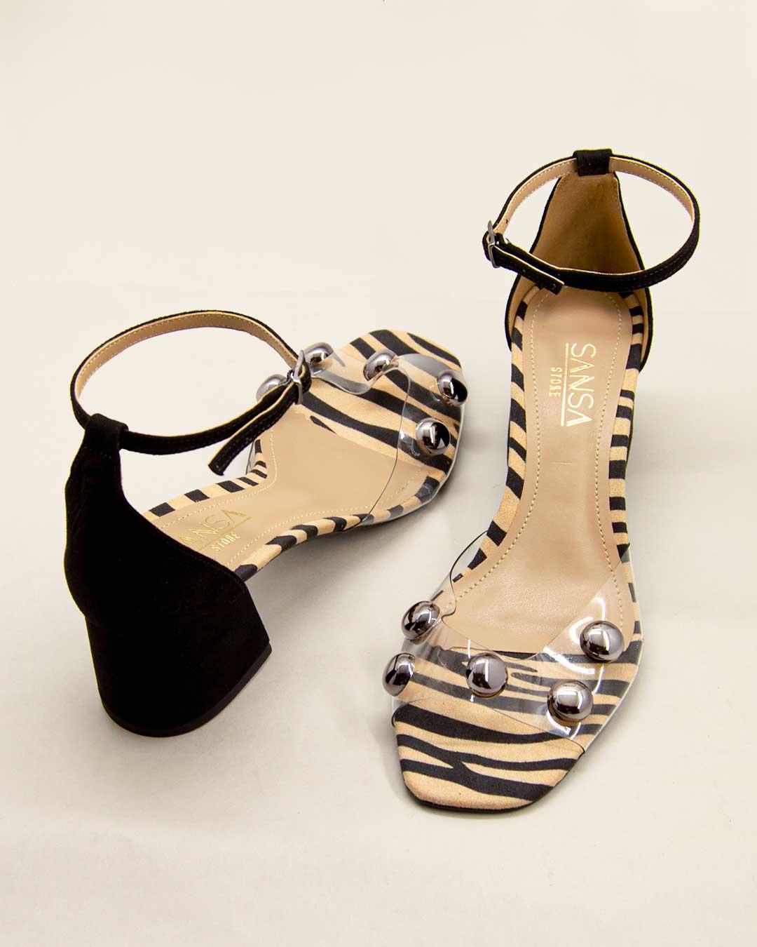 Sandália Salto Alto Bloco Com Tiras transparentes e bolinhas dourada