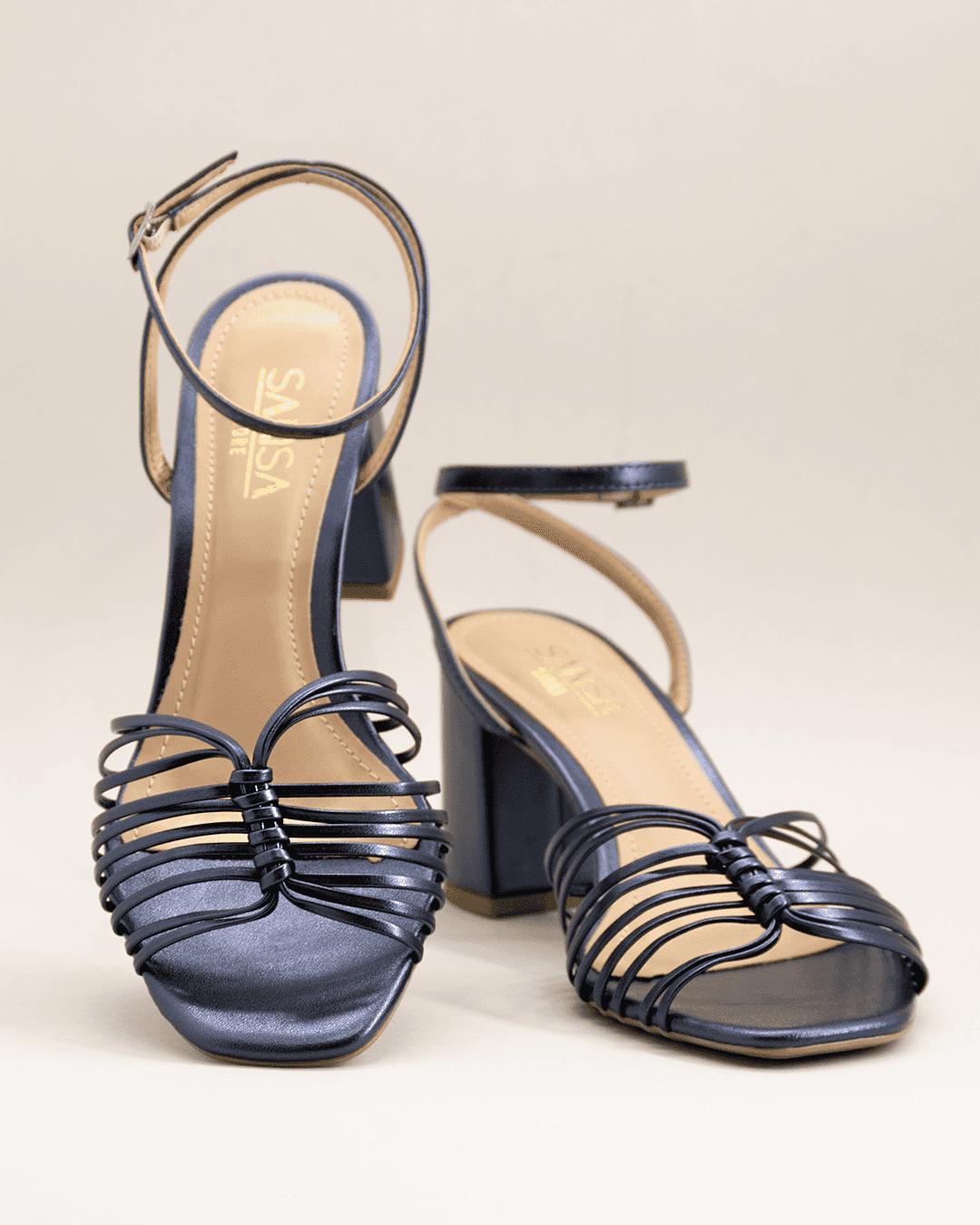 Sandália salto alto grosso com tiras zaffira
