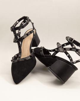 Sandália salto alto grosso em tiras preta