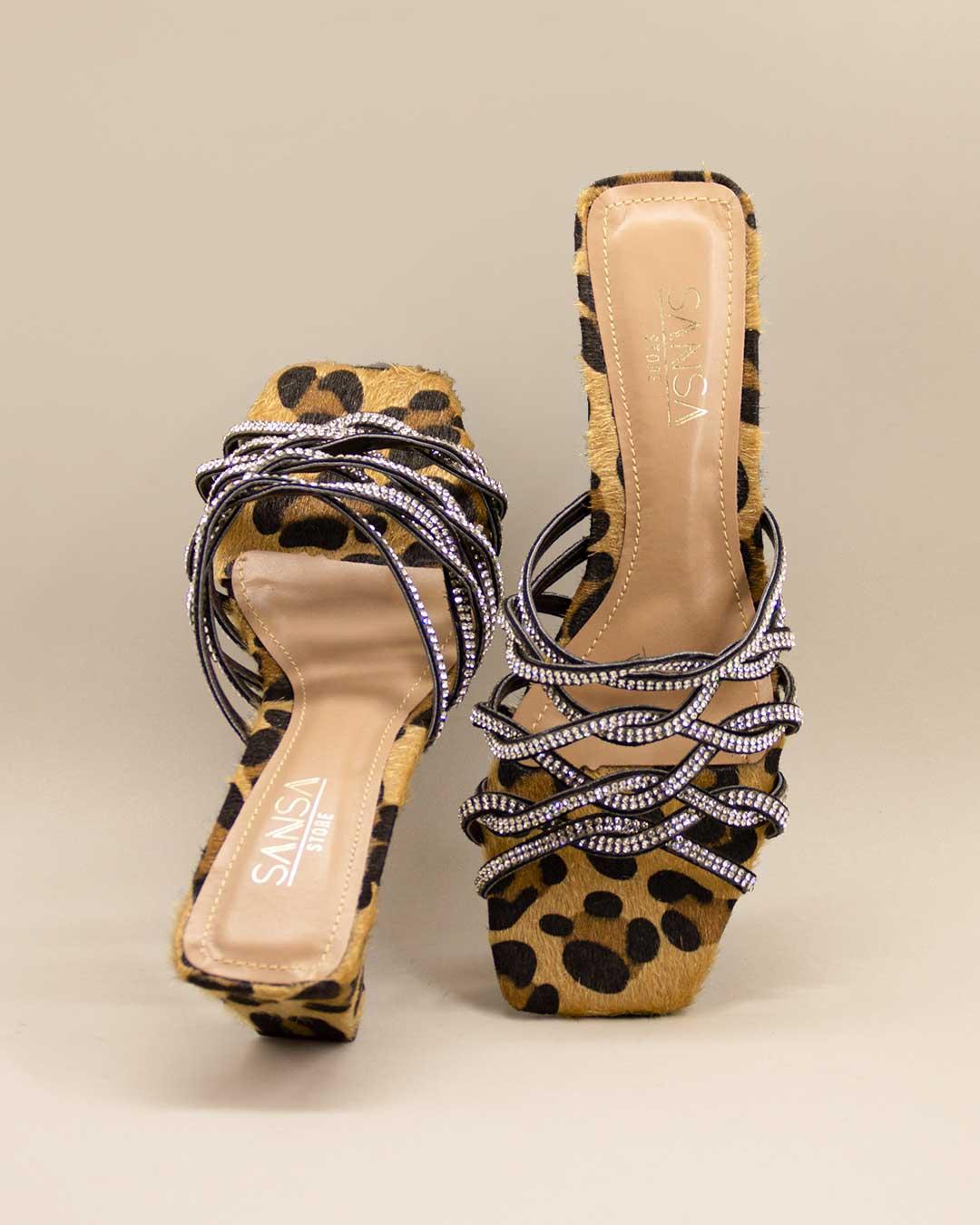 Sandália Salto Baixo Bico Quadrado AnimalPrint