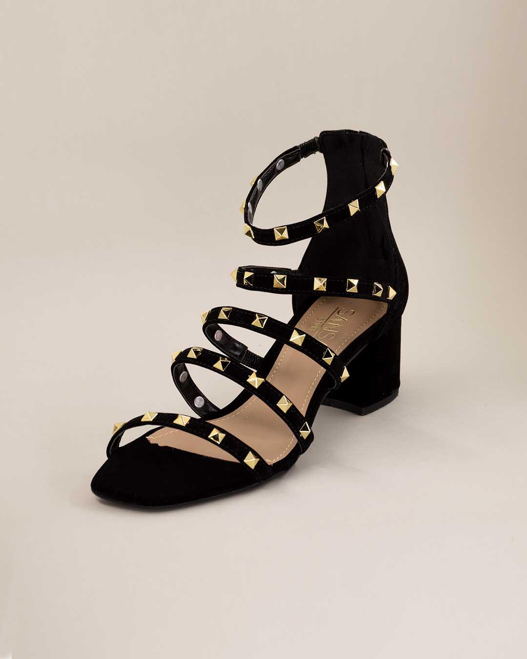 Sandália Salto Baixo Preta com Brilhos Dourado