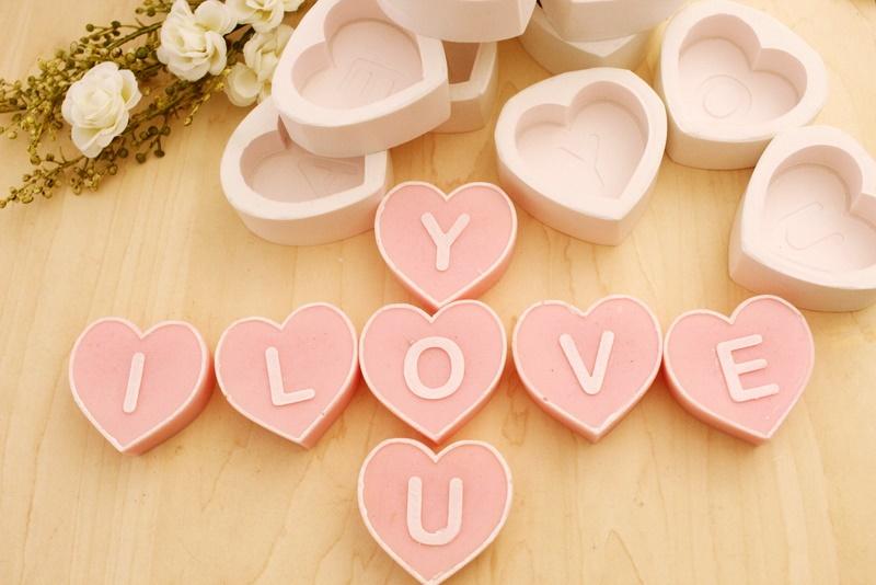 Kit 07 moldes Letra coração ( I LOVE YOU)