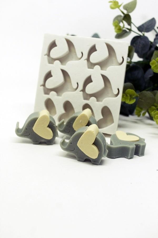 Molde Silicone 04 cavidades Elefante coração Encaixe