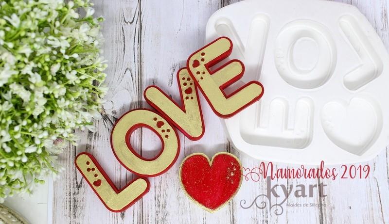 MOLDE SILICONE 05 CAVIDADES LOVE+CORAO GRANDE