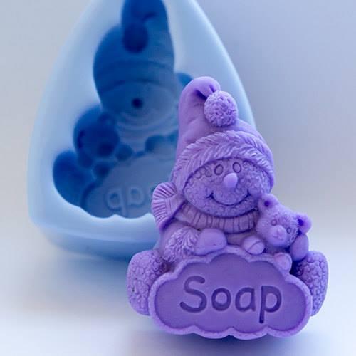 MOLDE SILICONE BONECO DE NEVE SOAP