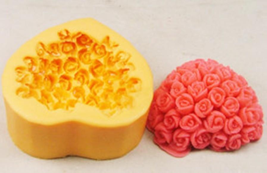 Molde Silicone Coração de Flores Pequeno