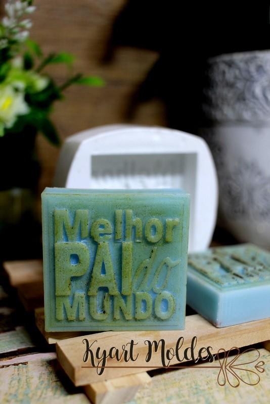 MOLDE SILICONE SABONETE MELHOR PAI DO MUNDO