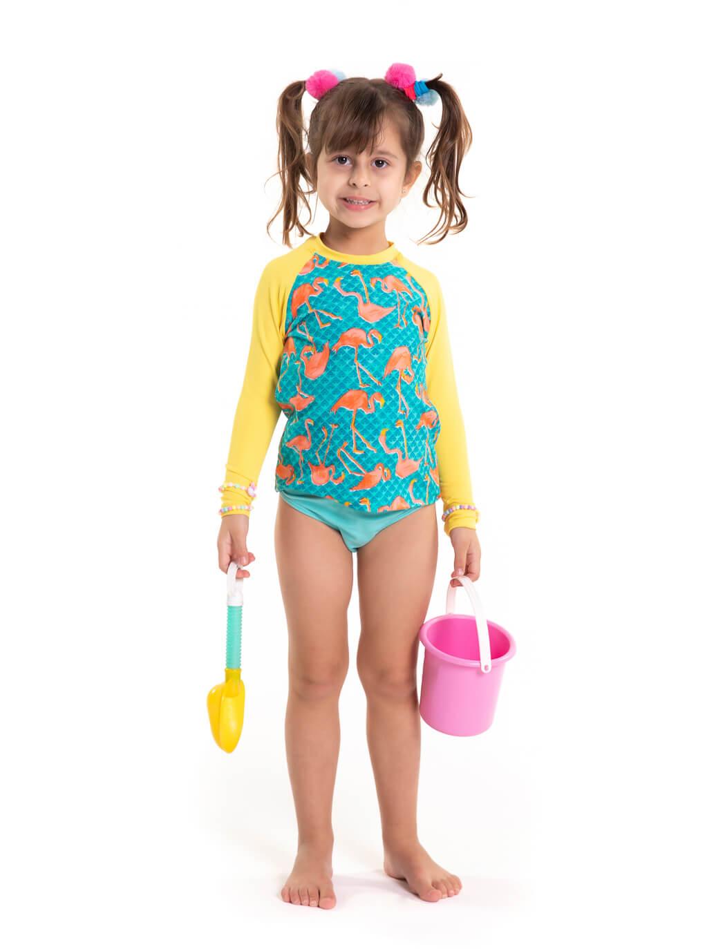 Conjunto Muvi Camisa Flamingo Yellow Proteção Solar e Calcinha FPU 50+