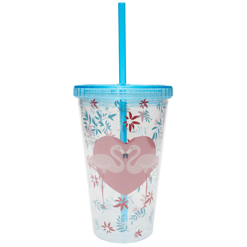 Copo com Canudo 450ml Flamingo