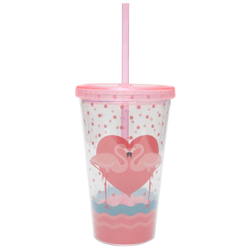 Copo Plástico com Canudo 450ml Flamingo