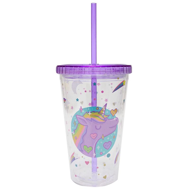 Copo Plástico com Canudo 450ml Unicórnio