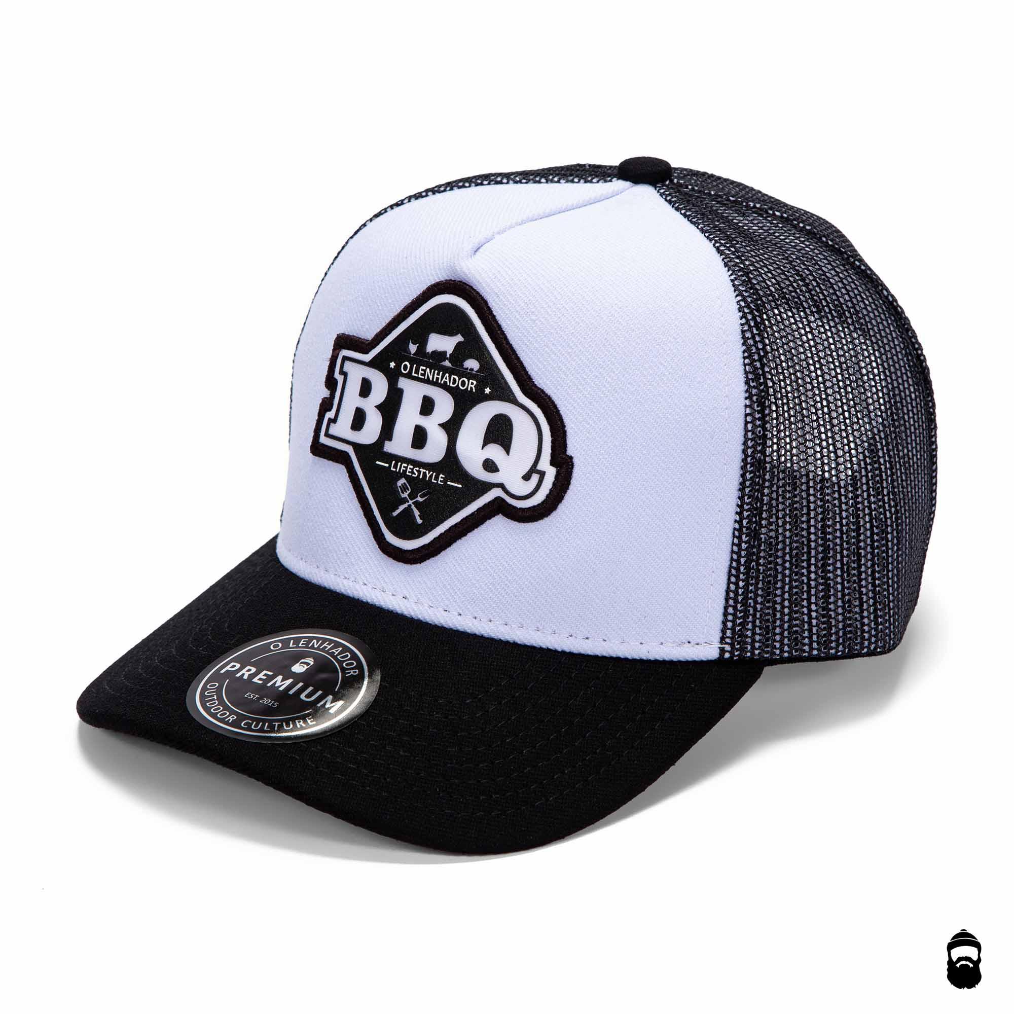 O Lenhador Boné Trucker BBQ Branco Preto