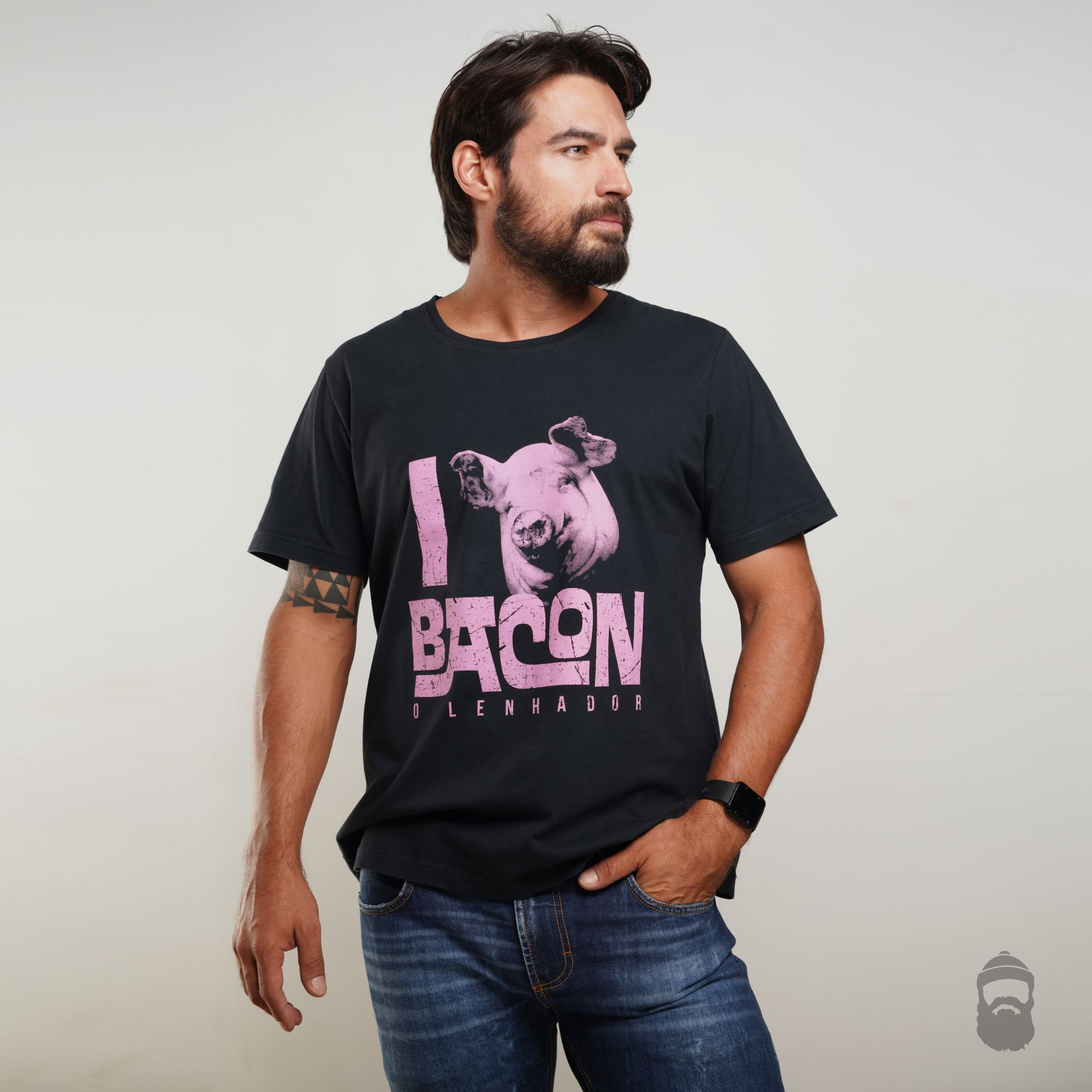 O Lenhador Camiseta Love Bacon Estonada Preta