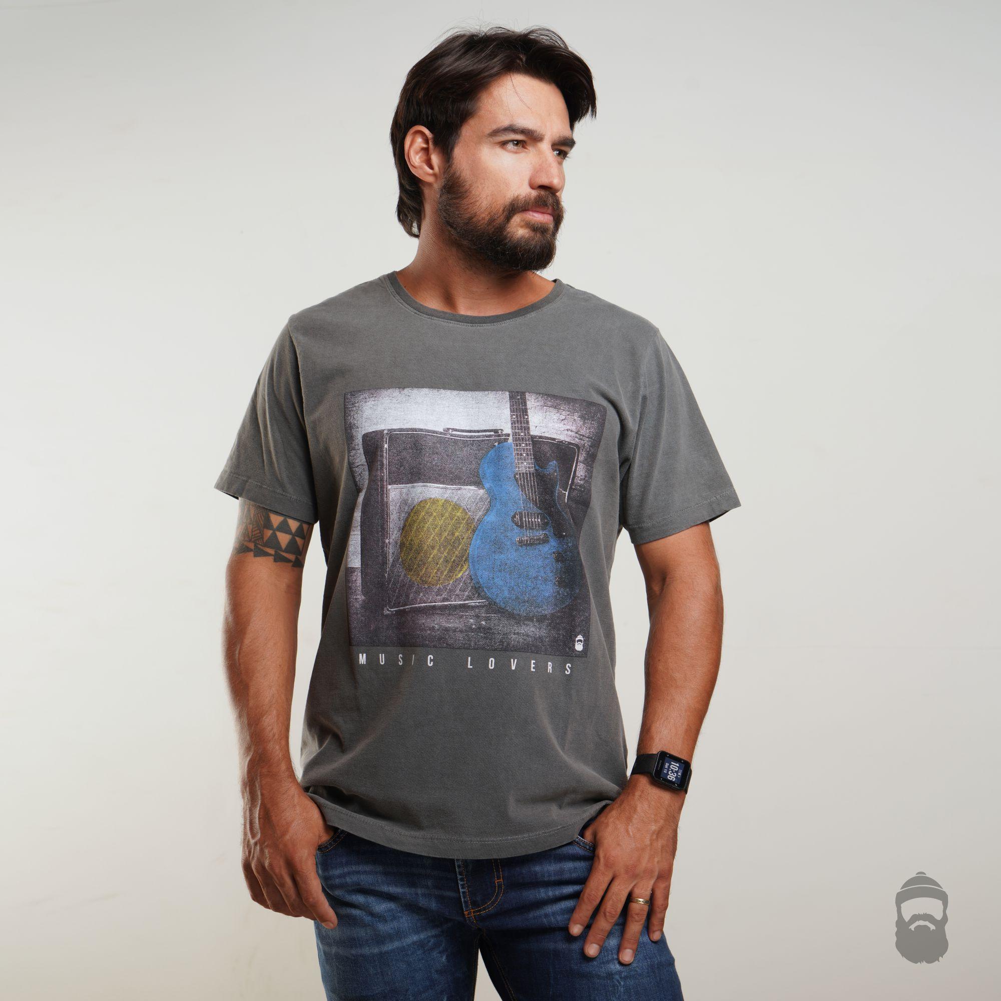 O Lenhador Camiseta Music Lovers Estonada Cinza