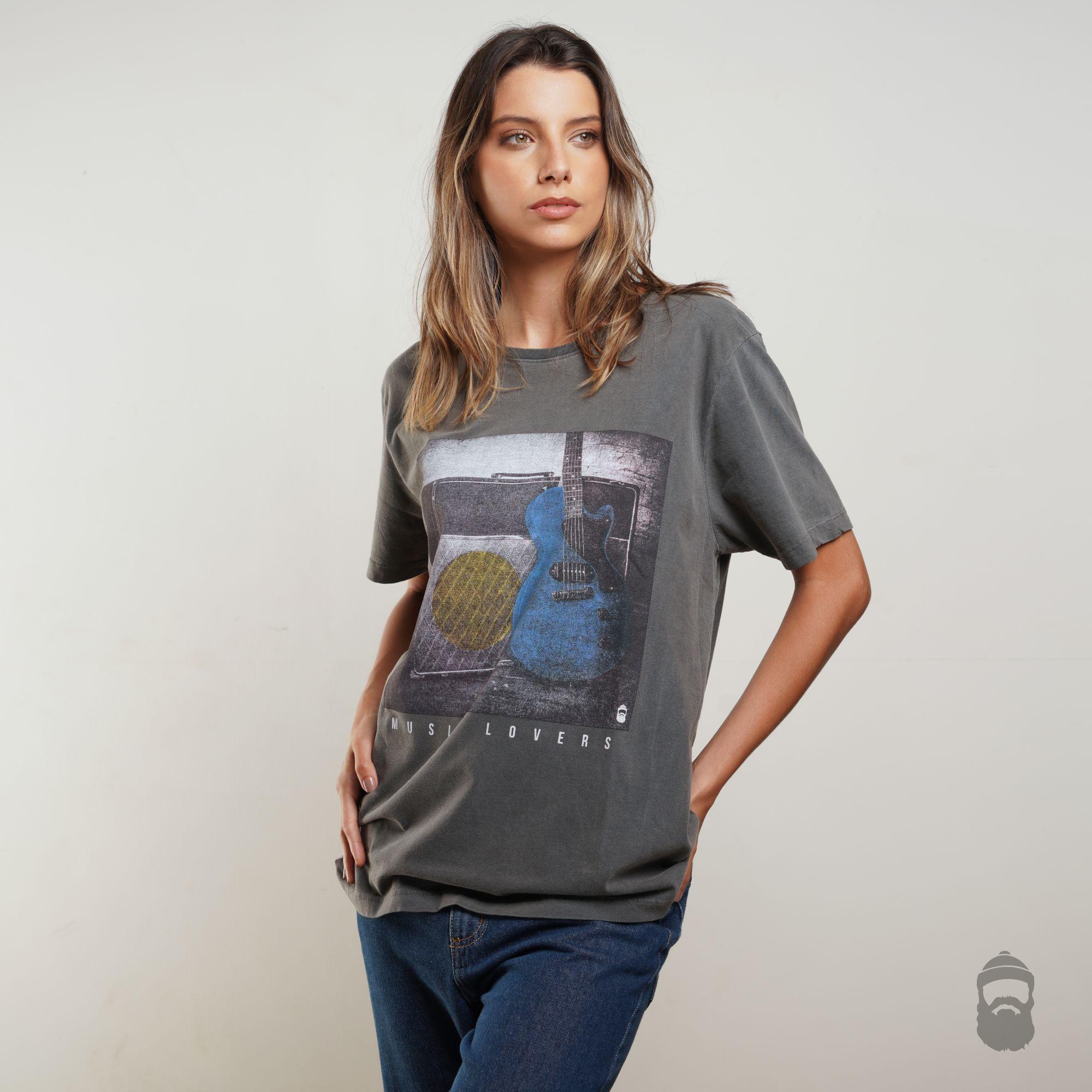 Camiseta Music Lovers Estonada Cinza