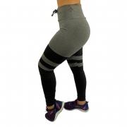 Calça Legging Fitness Recortes Cinza Mescla Recomeço