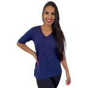 Camiseta Feminina Tapa Bumbum Manga Curta Azul Marinho