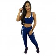 Conjunto Fitness 3D Glow Recomeço Azul Marinho (Top+Calça)