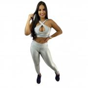 Conjunto Fitness Recomeço Magnetado Prata (Top+Calça)