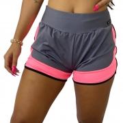 Short Fitness Feminino Corrida Cinza Com Rosa