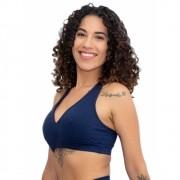 Top Fitness Nadador Bojo Removível Azul Marinho