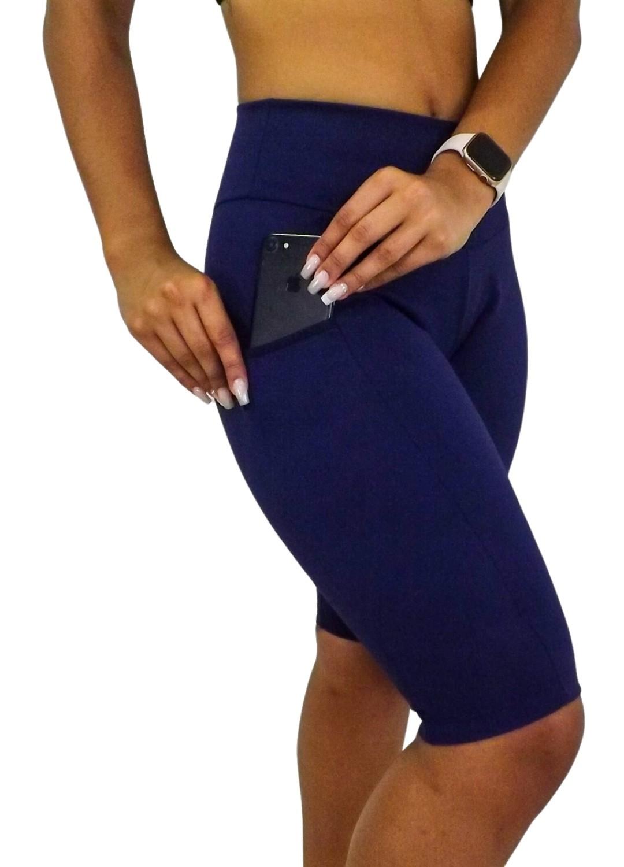 Bermuda Feminina Ciclista Com Bolso Azul Marinho