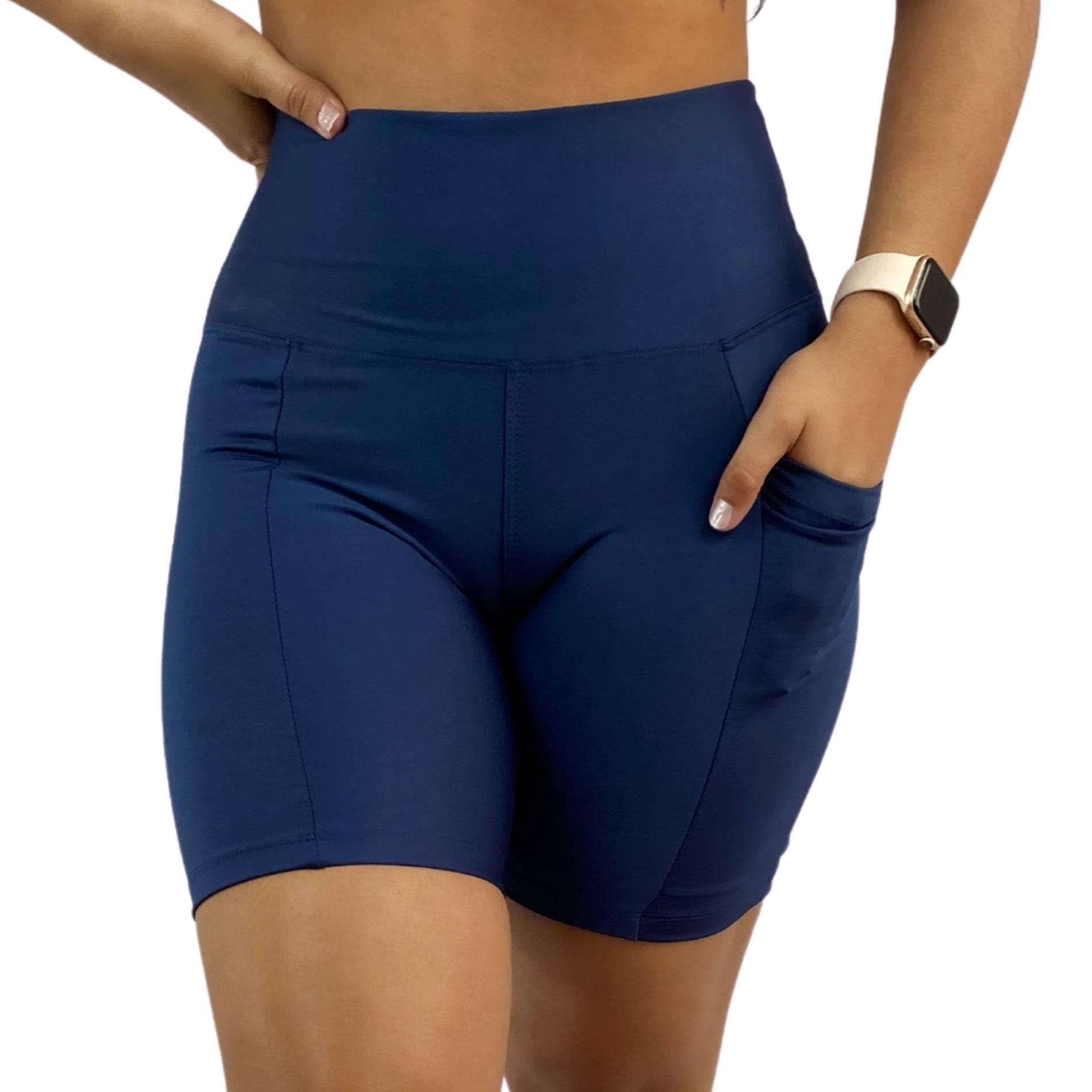 Bermuda Fitness Bolso Unilateral Recomeço Azul Marinho