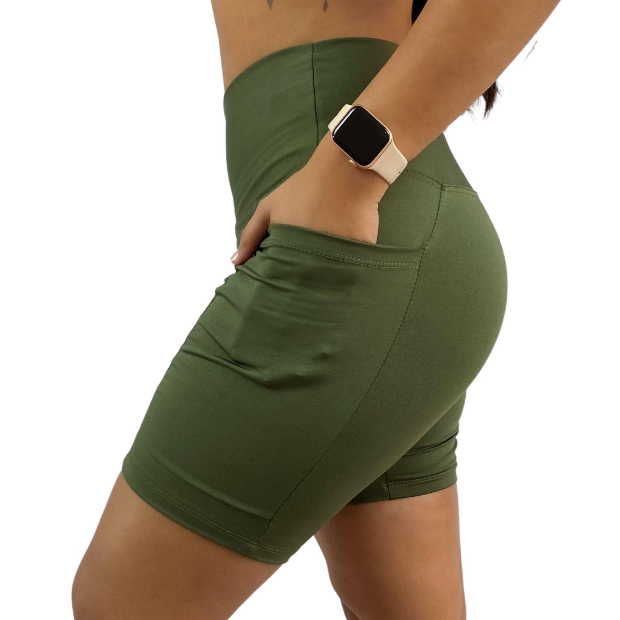 Bermuda Fitness Bolso Unilateral Recomeço Verde