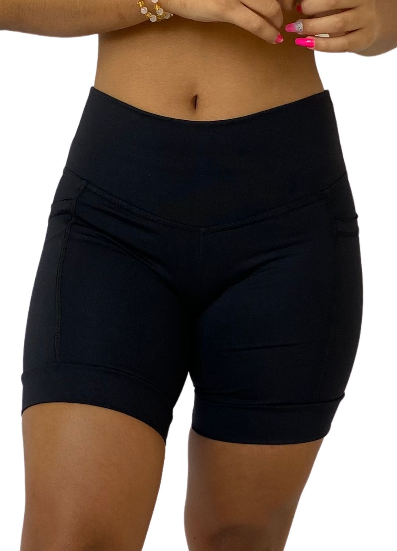 Bermuda Fitness Feminina Com Bolso Preto