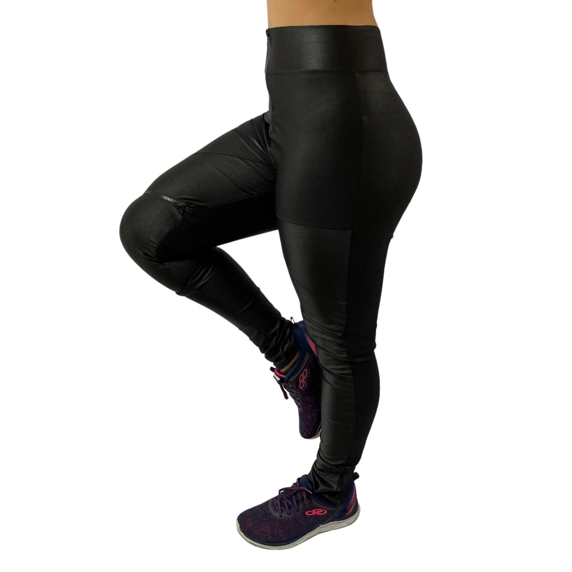 Calça Legging Feminina Cirrê Poliamida Preta